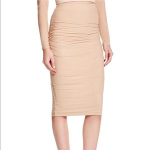 Bardot mesh side ruched skirt latte color small